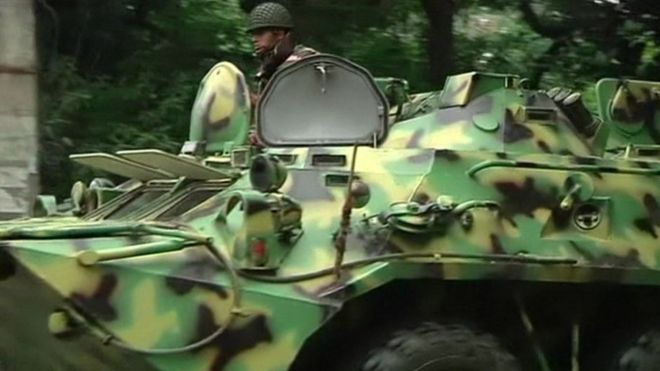 A soldier on an armoured vehicle in Bangladesh. Photo: 2 July 2016