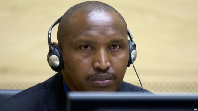 Rwandan-born Congolese warlord Bosco Ntaganda is seen during his first appearance before judges of the International Criminal Court in The Hague, Netherlands, 26 March 2013