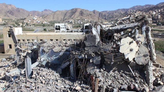 "A school destroyed by a Saudi-led air strike is seen in Haidan district of Yemen""s northwestern province of Saada October 17, 2015."