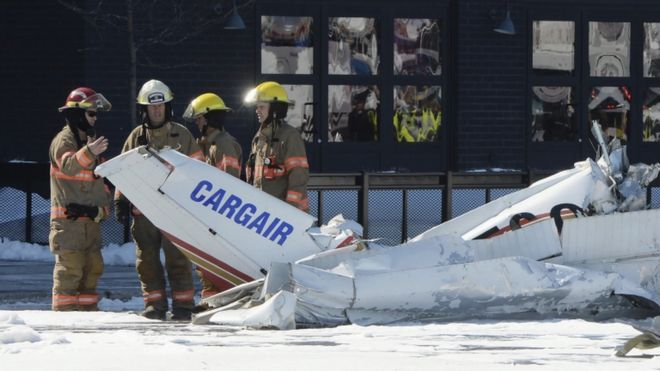 Emergency services on the scene of a small plane crash near Montreal.