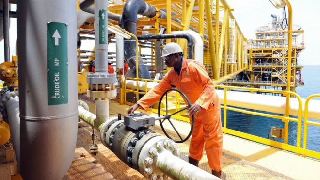 Worker on an oil platform in Niger Delta