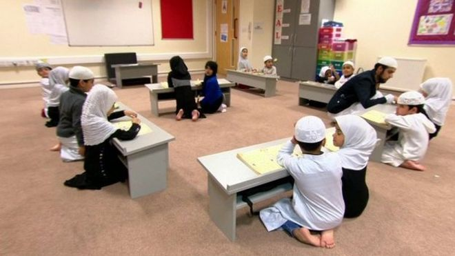 Muslim children at a madrassa