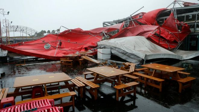 A view of a damaged stage tent as Typhoon Megi hit Hualien county, eastern Taiwan, 27 September 2016.