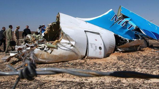Plane wreckage in Sinai desert. 1 Nov 2015