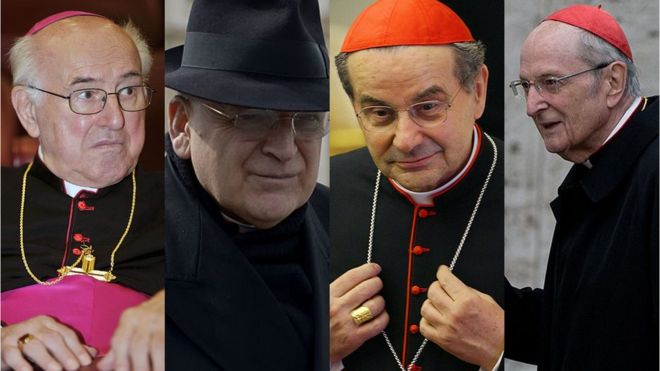 Los cardenales firmantes: Walter Brandmüller, Raymond Burke, Carlo Caffarra y Joachim Meisner.