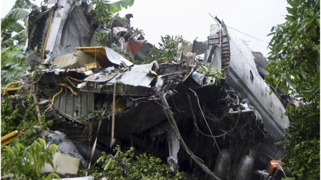 The scene of a cargo airplane that crashed after take-off near Juba Airport in South Sudan
