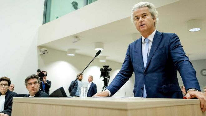 Geert Wilders of the Freedom Party speaks in the court of Schiphol, the Netherlands, 23 November 2016