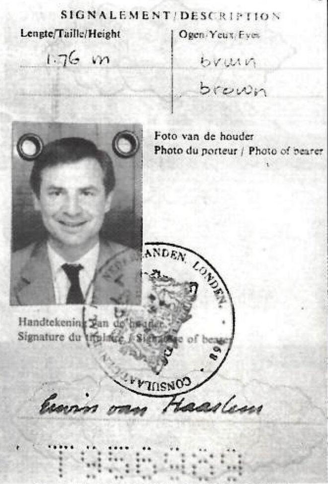 Image of van Haarlem's Dutch passport
