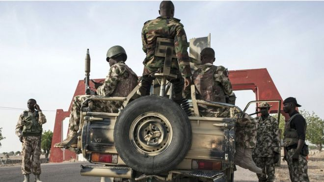 Nigerian Army prepares to leave Maiduguri in heavily armed convoy on road to Damboa in Borno State. 25 March 2016