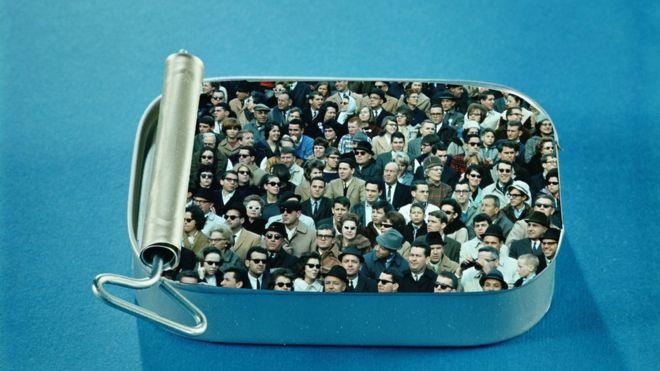 people in a sardine tin