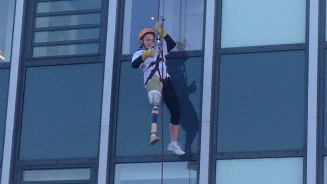 abseiling amputee
