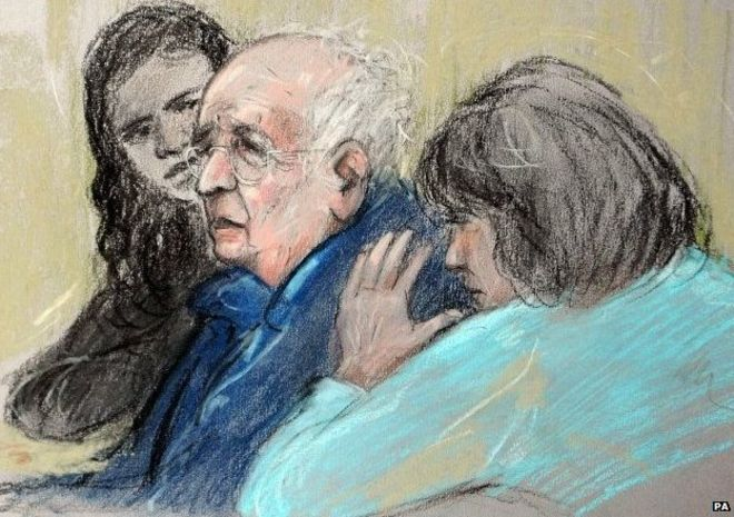 Sketch of Lord Janner in court