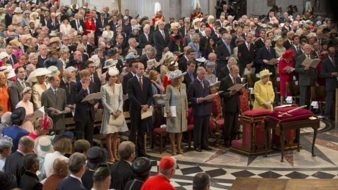 The Queen and Duke of Edinburgh, Prince Charles, the Duke and Duchess of Cambridge and Prince Harry