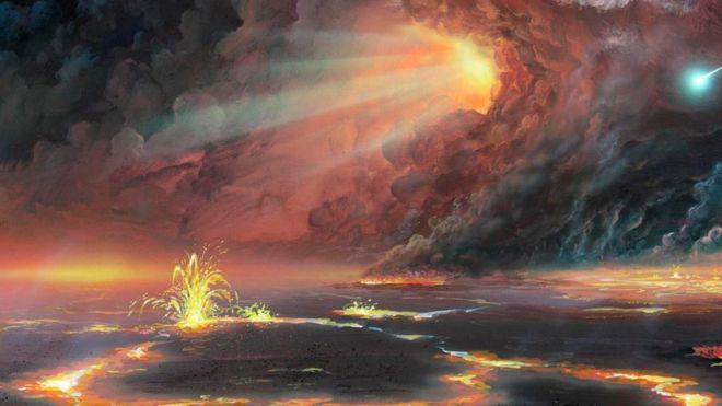 Una ilustración de magma que brota del suelo y una ráfaga de luz en el cielo