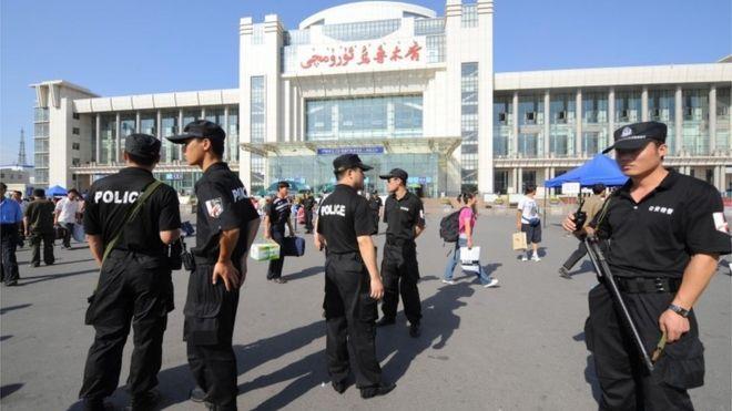 Police in Urumqi, Xinjiang (file image)
