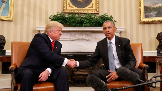 Bw Obama na Bw Trump walikutana White House siku mbili baada ya uchaguzi Nov. 10, 2016.