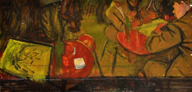 Norman Cornish painting of men Drinking in a Pub