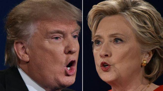 Estados Unidos / Elecciones  Presidenciales . _92074654_trumpyclintonafp