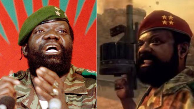 Композитный показывая Ангольский лидер повстанцев Жонас Савимби и его изображение в видео-игре служебный долг