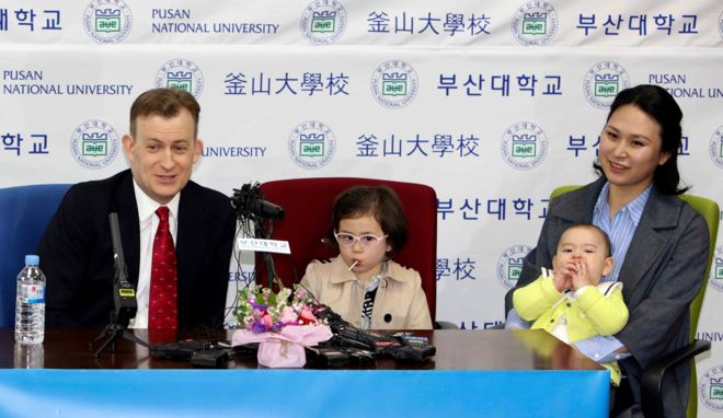 BBC Trending   BBC News Robert Kelly  left  a political science professor at Pusan National University  holds a