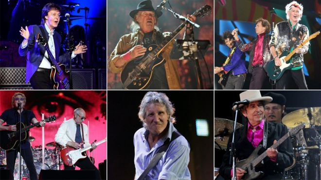 Paul McCartney, Neil Young, Rolling Stones, The Who, Roger Waters and Bob Dylan