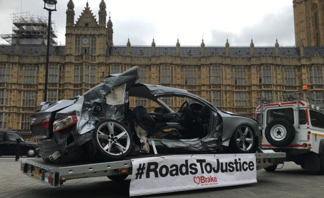 Dead driver's wrecked car displayed outside Parliament in campaign for tougher sentencing