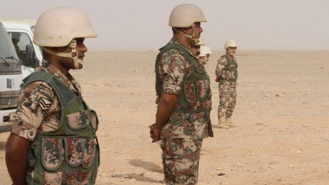 Jordanian soldiers guarding the Jordan-Syria at Rukban (10 September 2015)