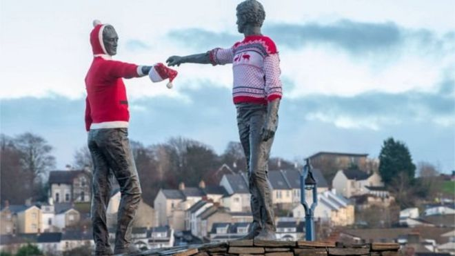 Derry's 'hands across the divide' sculpture also got in on the act