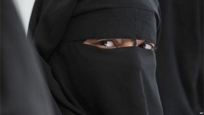 A Muslim woman wearing the burka