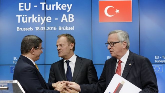 Leaders (from L) Turkish Prime Minister Ahmet Davutoglu, European Council President Donald Tusk (C) and EU Commission President Jean-Claude Juncker (R), March 2016