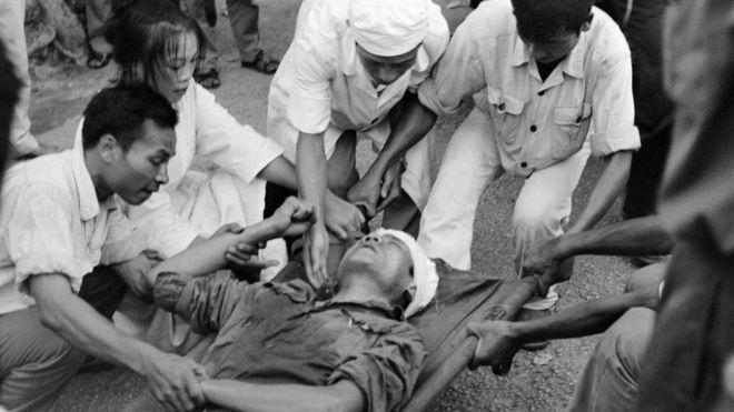 自1978年以來,中越邊界衝突規模不斷擴大。在越南與中國接壤的城鎮同登,一名越南邊界衛兵被槍殺。(攝於1978年8月25日)