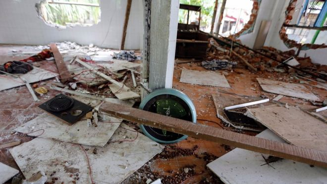 The interior of a destroyed mosque is seen after a group of men attack it in the first serious outburst of inter-religious violence in months in the village of Thayethamin outside Yangon, Myanmar 24 June 2016.
