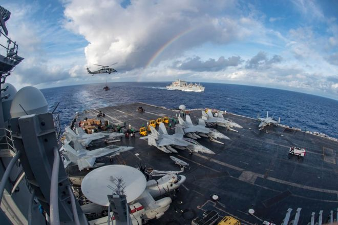 The USS Carl Vinson in the Pacific Ocean, 3 February