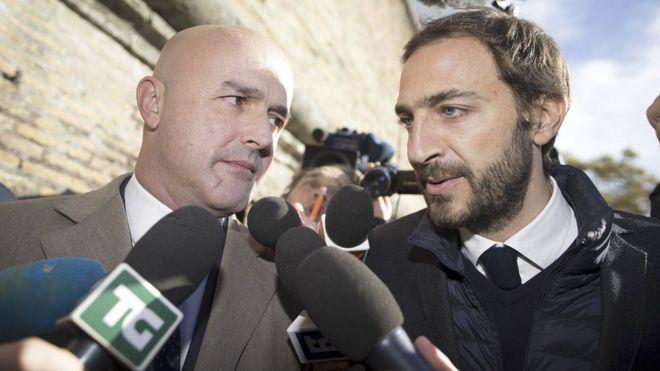 Journalists Gianluigi Nuzzi (L) and Emiliano Fittipaldi