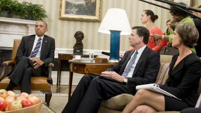 Sally Yates, right, in the Oval Office with Barack Obama
