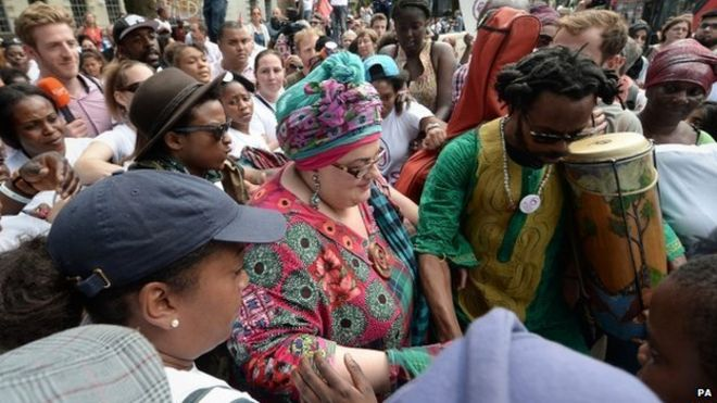 Camila Batmanghelidjh at a protest in support of the charity shortly after its closure