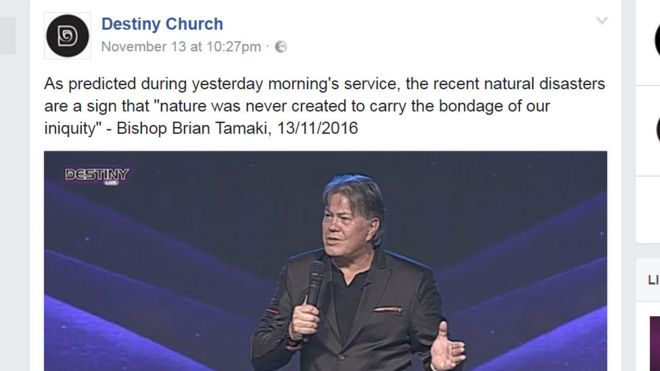 """Screenshot of a Facebook page showing Brian Tamaki speaking, with the caption """"As predicted during yesterday morning's service, the recent natural disasters are a sign that nature was never created to carry the bondage of our iniquity""""."""