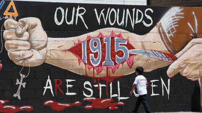 A mural commemorates the Armenian genocide in Los Angeles, California.