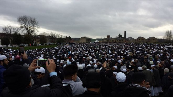 Crowds attending funeral of Hafiz Patel