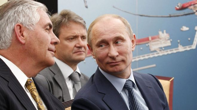 Rex Tillerson pictured meeting Vladimir Putin in 2012