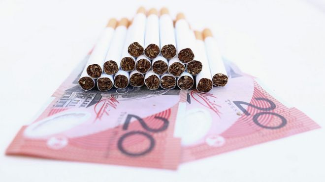 The cost of a packet of cigarettes in Australia will reach AUD$40 (£24) by 2020