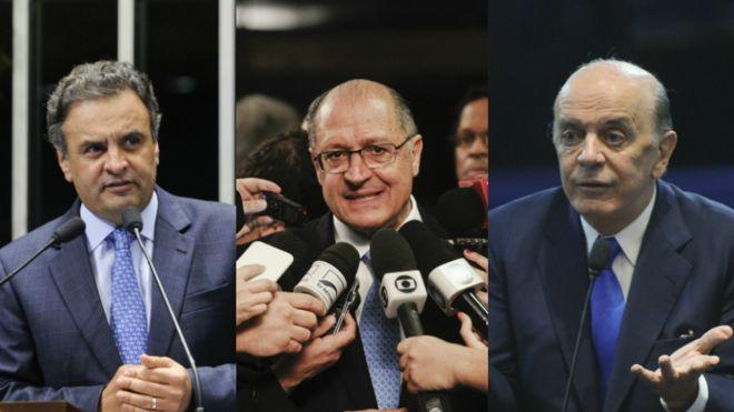 Os senadores Aécio Neves e José Serra e o governador Geraldo Alckmin