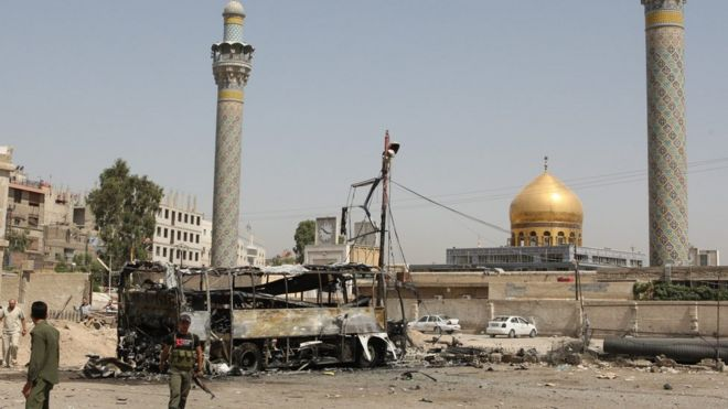 At least 60 dead in Syria shrine blasts