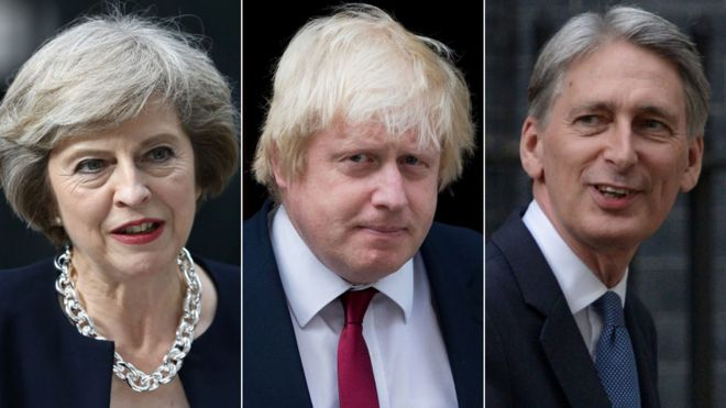 Theresa May, Boris Johnson and Philip Hammond