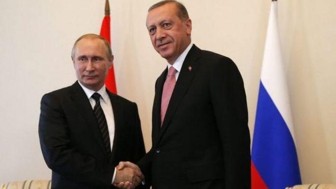 Rais wa Urusi Vradimir Putin na rais wa Uturuki, Recep Tayyip Erdogan