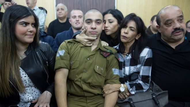 Sgt. Elor Azaria was convicted of manslaughter after fatally shooting an immobilized Palestinian soldier in the head (Photo courtesy of BBC News)