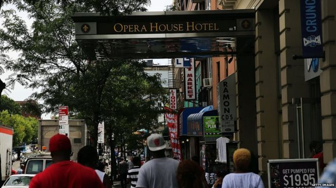The Opera House Hotel is viewed in an area of the Bronx which is the centre of the outbreak Legionnaires disease on 6 August in New York City