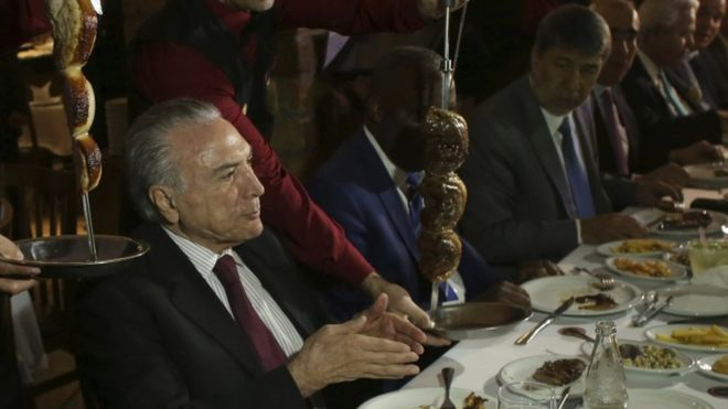 Mr Temer invited foreign diplomats to a steak house in Brasilia after a formal meeting at the presidential palace