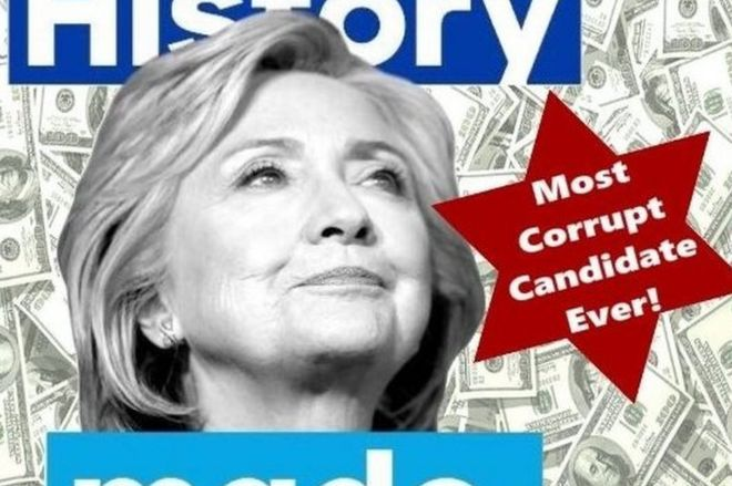"Tweet with picture of Hillary Clinton and $100 bills as background and the message ""Most corrupt candidate ever"" on a form resembling the Star of David"