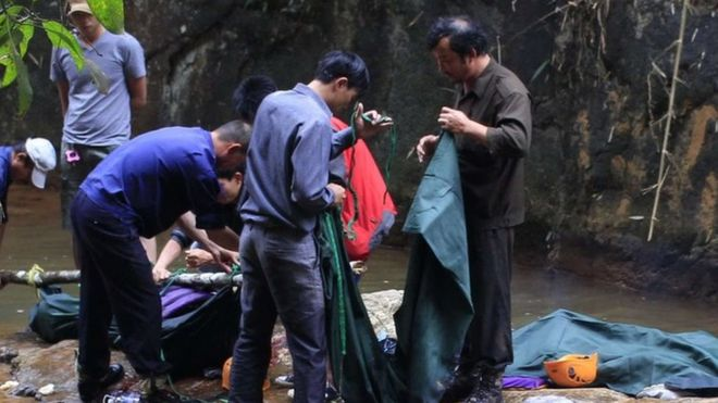 A recovery operation is underway at the site of the waterfall